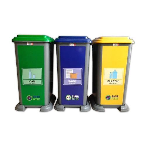 3'lü Plastik Sıfır Atık Geri Dönüşüm Kovası Seti 70 Litre